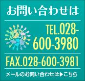 お問い合わせは TEL:028-600-3980 FAX:028-600-3981 メールのお問い合わせはこちら